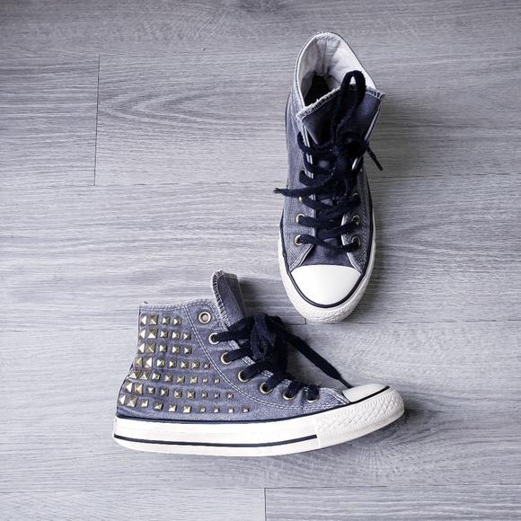 Converse Grey Studded high tops